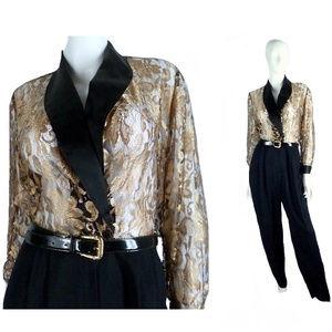 Elegant Gold and Black Jumpsuit, Size Medium